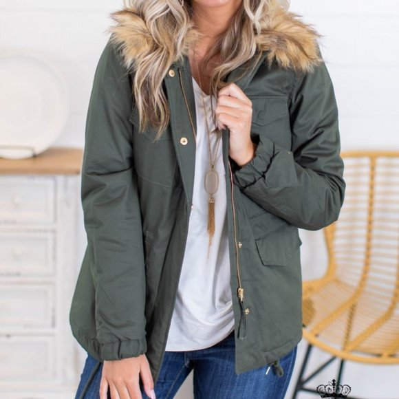 utility jacket • faux fur collar • olive •  sz sm